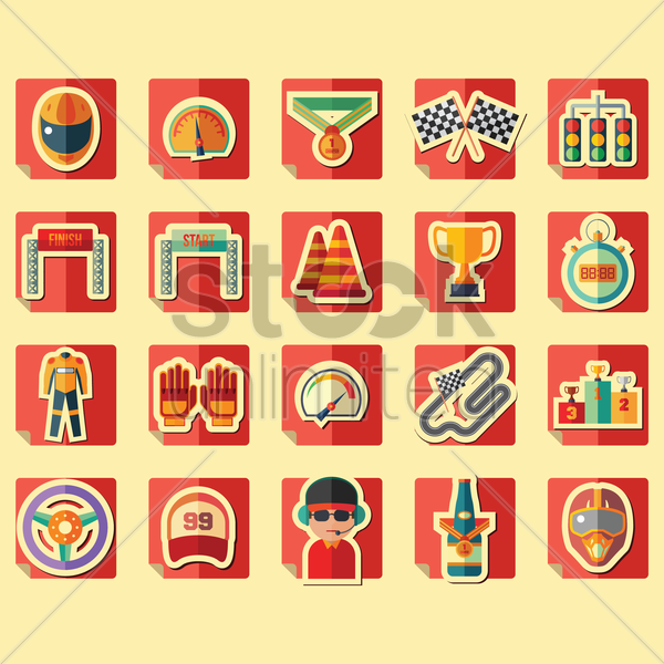 racing icons collection vector graphic