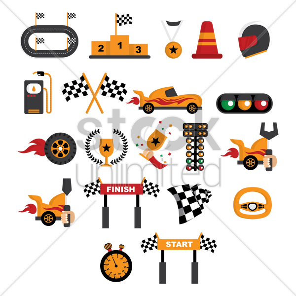 Free racing themed vectors vector graphic