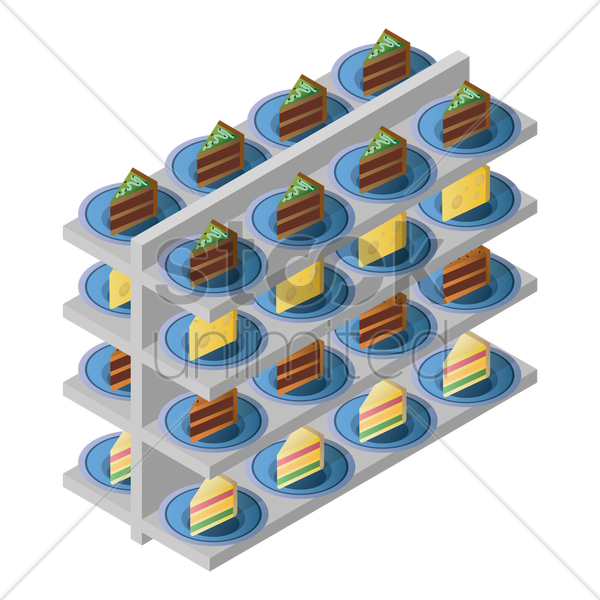 racks with bakery items vector graphic