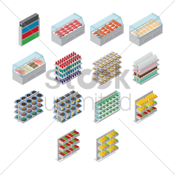 racks with food and beverages vector graphic