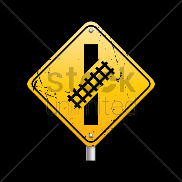 railroad crossing road sign vector graphic
