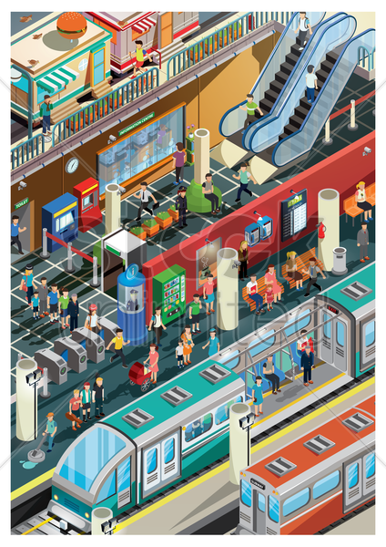 railway station vector graphic