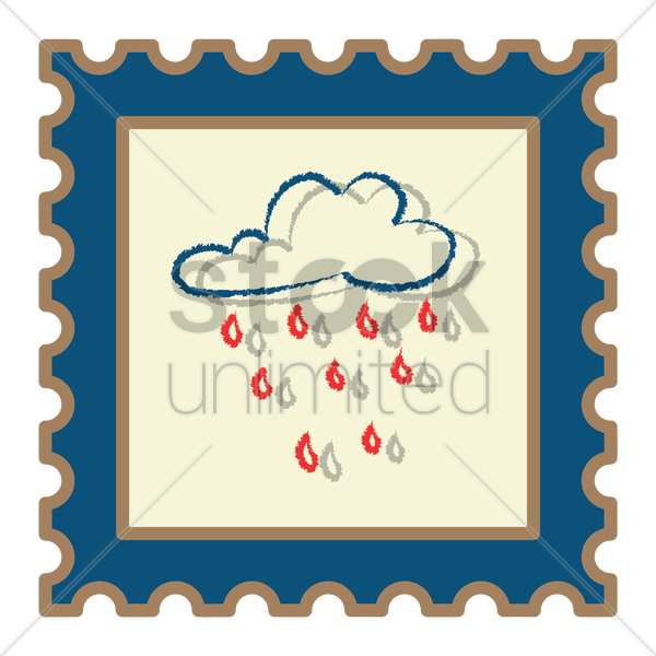 rain clouds postage stamp vector graphic