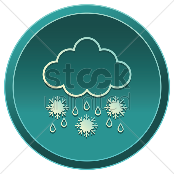 raining cloud with snowflakes vector graphic