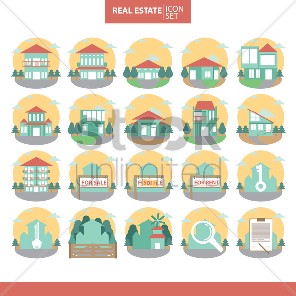 real estate icon set vector graphic