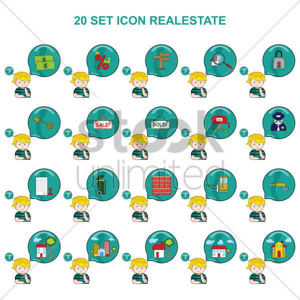 real estate icons vector graphic