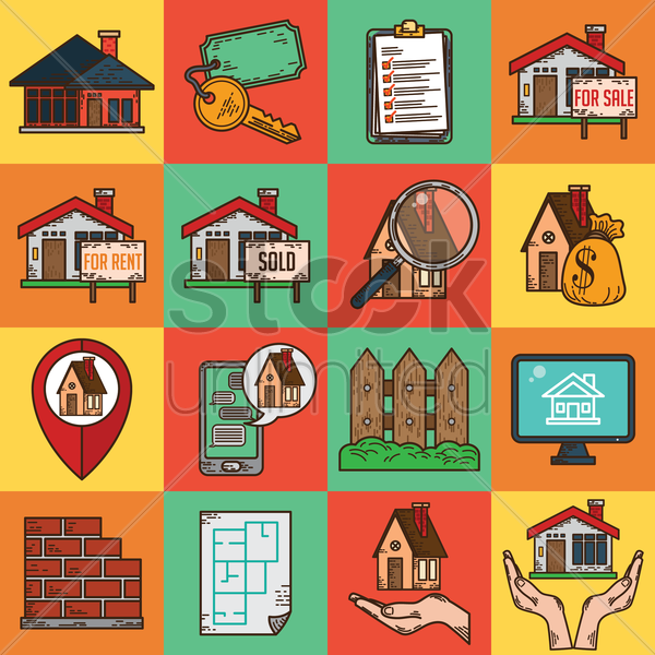 real estate property collections vector graphic