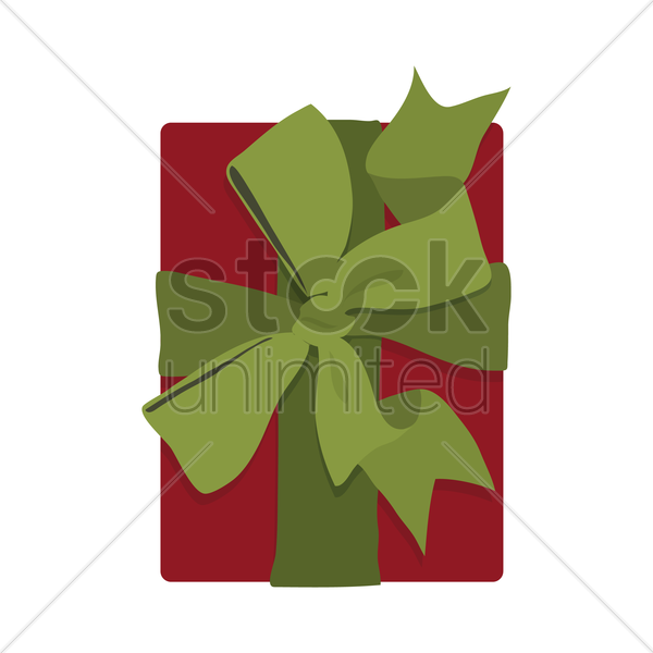 red gift box with green ribbon vector graphic