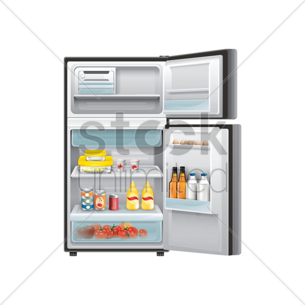 refrigerator with food items vector graphic