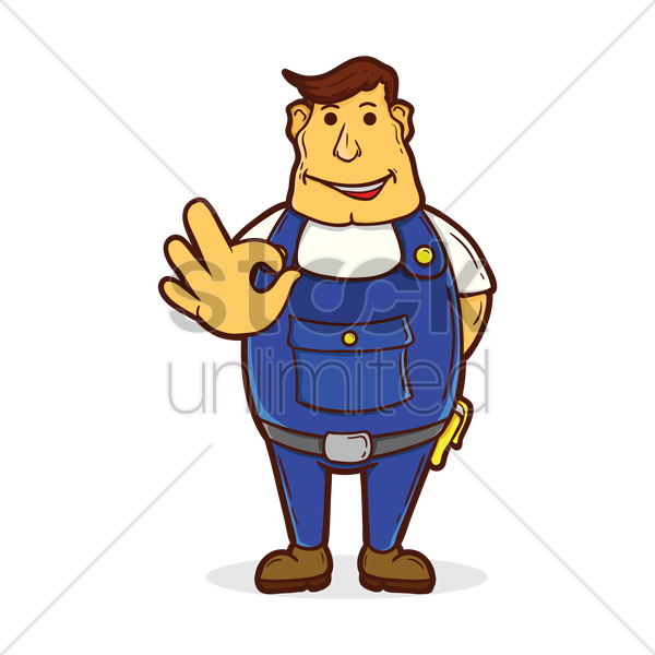 repairman with ok hand sign vector graphic