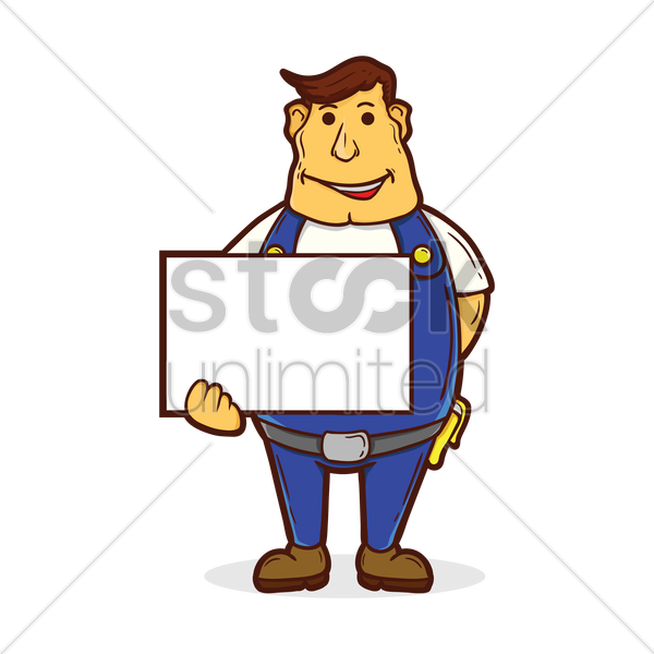 repairman with whiteboard vector graphic