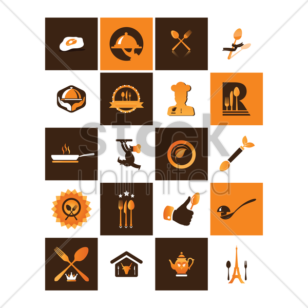 restaurant icon collection vector graphic