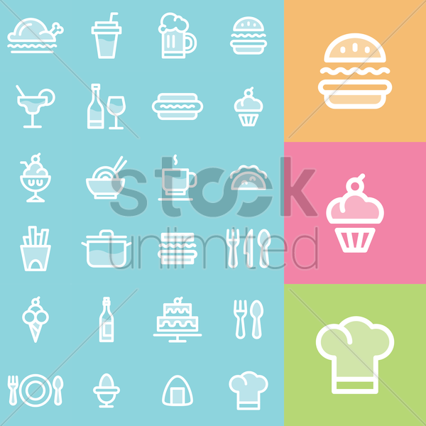 restaurant icons set vector graphic