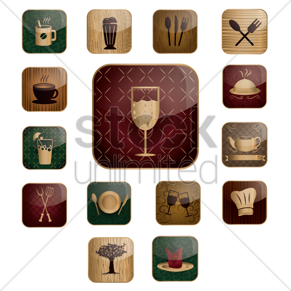 restaurant icons vector graphic