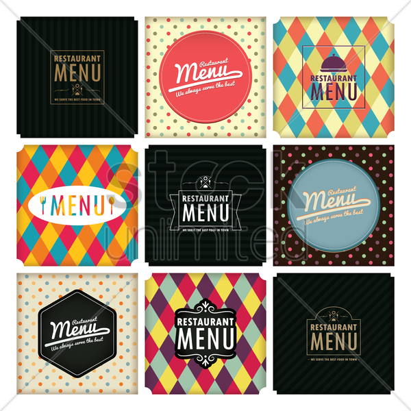 restaurant menu design collection vector graphic