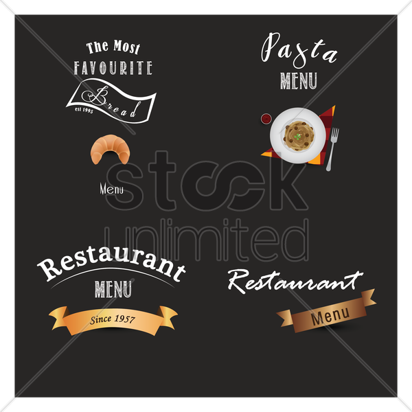 restaurant menu design set vector graphic