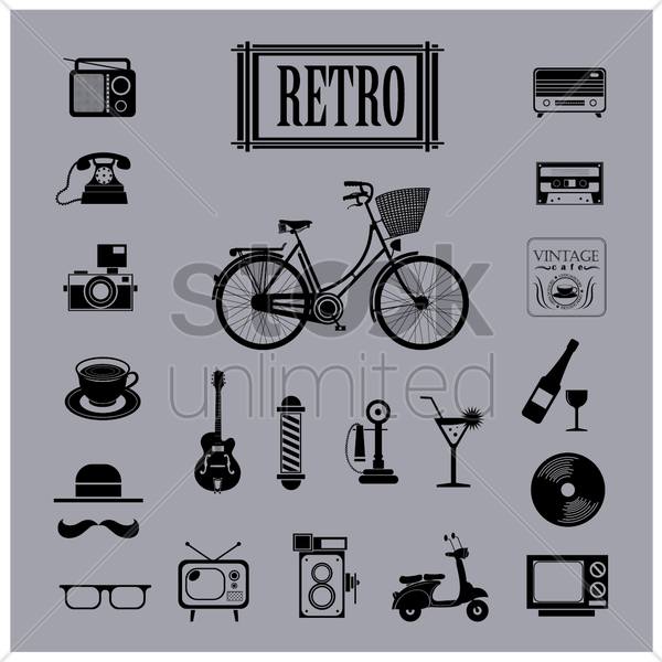 retro icons vector graphic