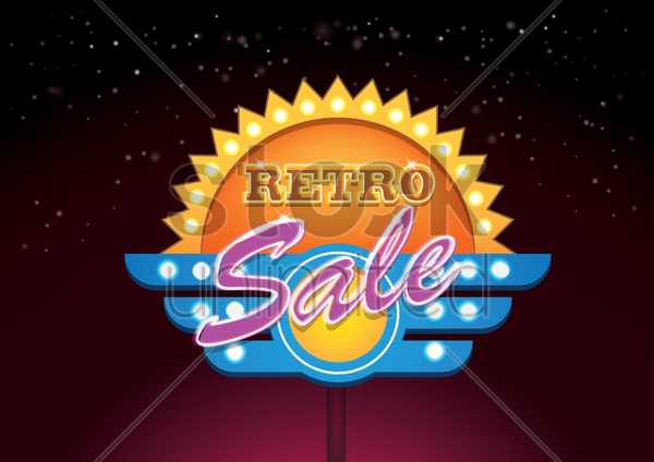 retro sale signboard vector graphic