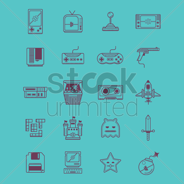retro video game icons vector graphic