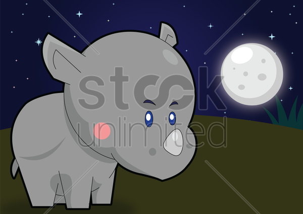 Free rhinoceros over a moonlit background vector graphic