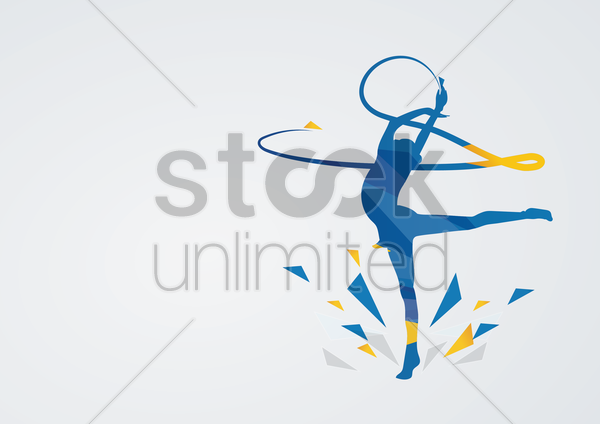 rhythmic gymnastic in action vector graphic