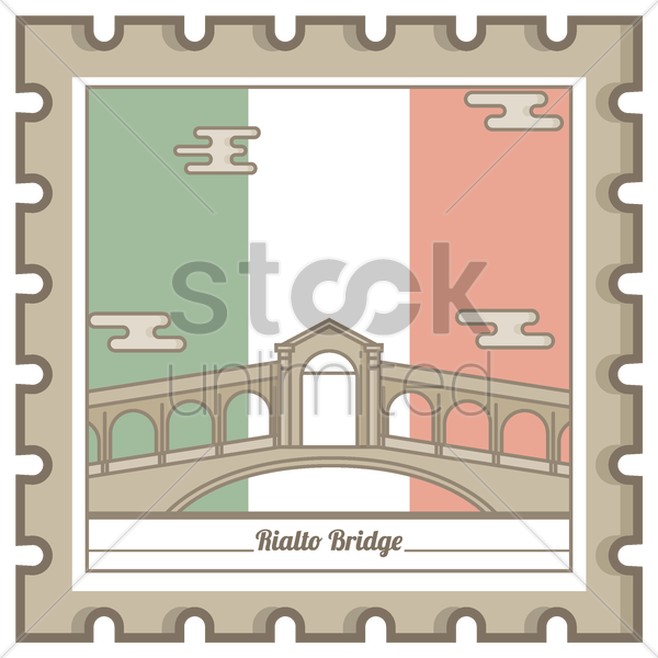 rialto bridge postal stamp vector graphic