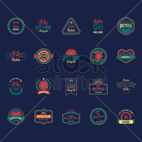 ride bicycle labels set vector graphic