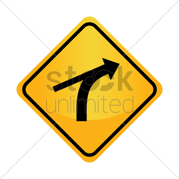 Free right curve out intersection warning vector graphic