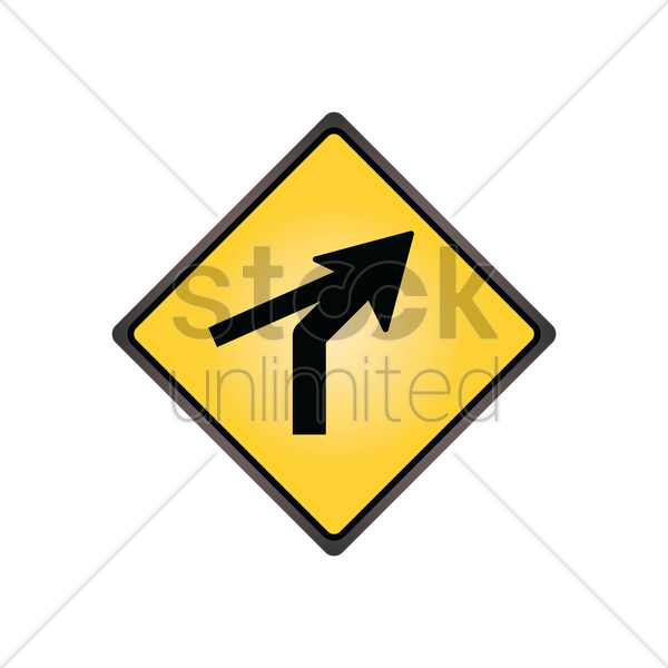 right curve out intersection warning vector graphic