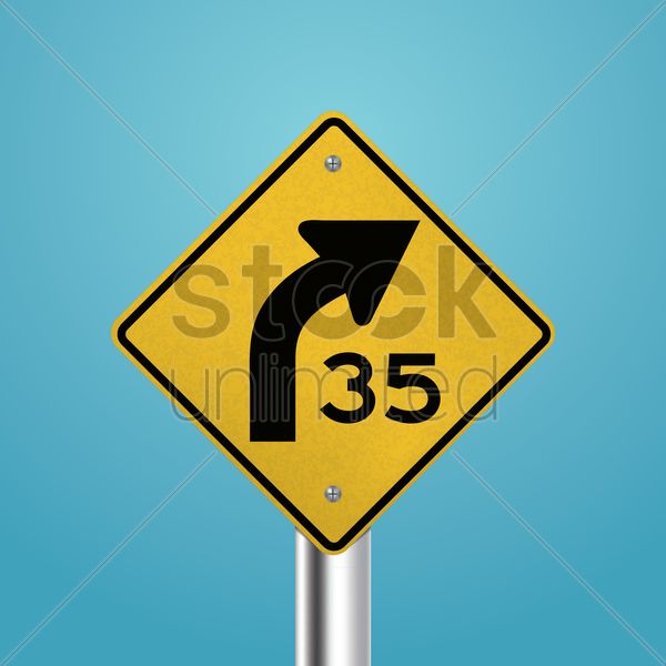 right curve signboard vector graphic