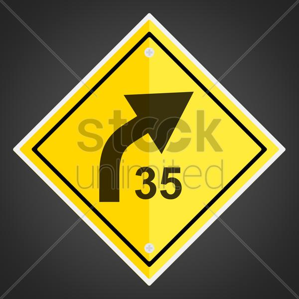 right curve with advisory speed sign vector graphic