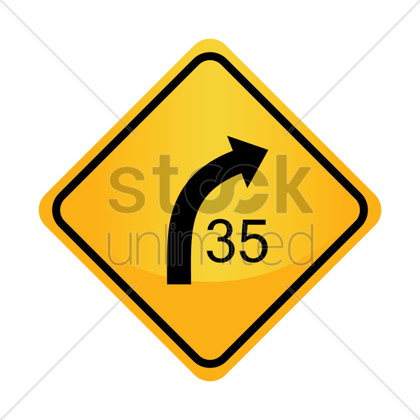 Free right curve with advisory speed sign vector graphic