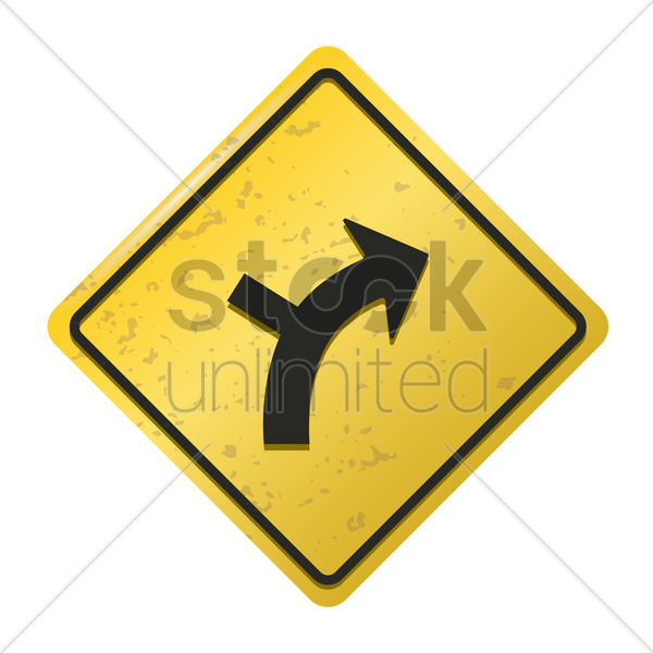 right curve with intersecting road to the left sign vector graphic