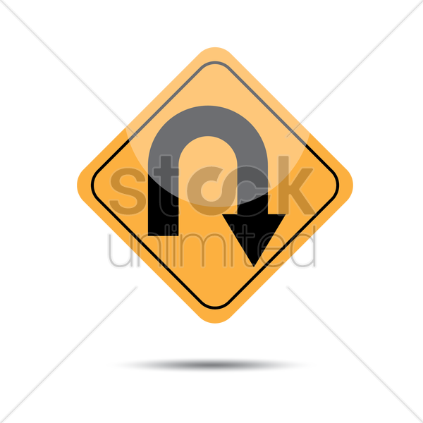 right hairpin curve road sign vector graphic