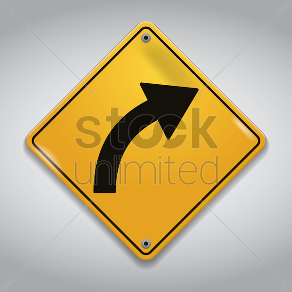 right-hand curve road sign vector graphic