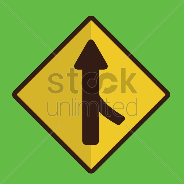 right merge road sign vector graphic