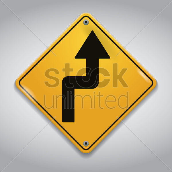 right reverse curve road sign vector graphic