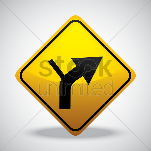 right side road junction on curve vector graphic