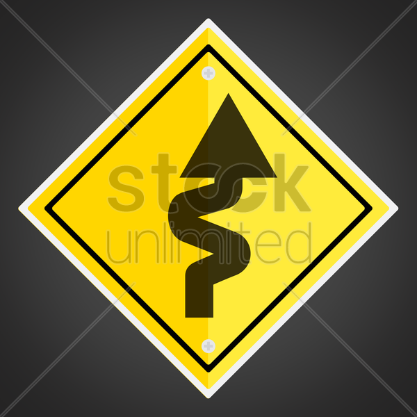 right-sided winding road sign vector graphic