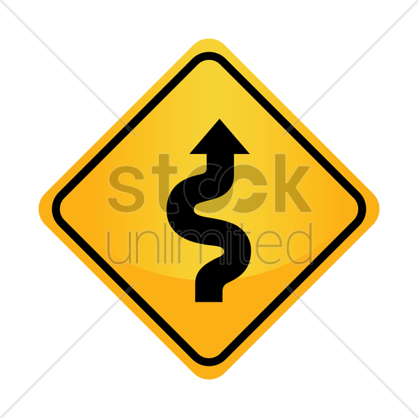 Free right-sided winding road sign vector graphic