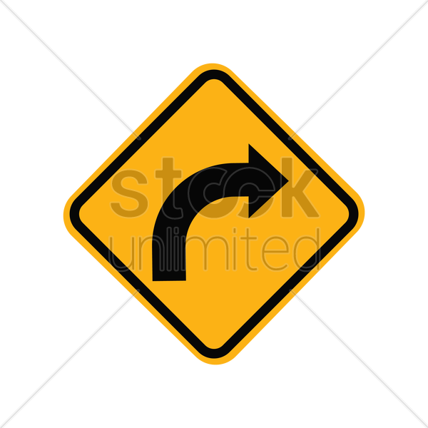 right turn road sign vector graphic