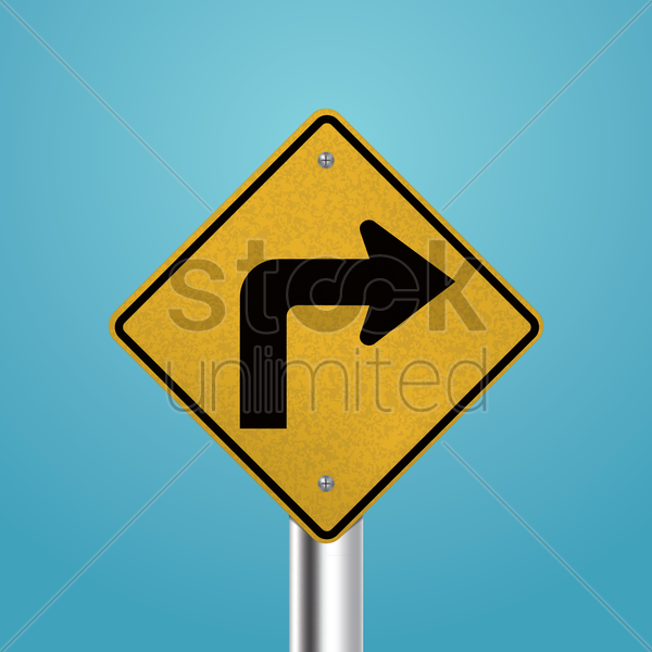 right turn signboard vector graphic