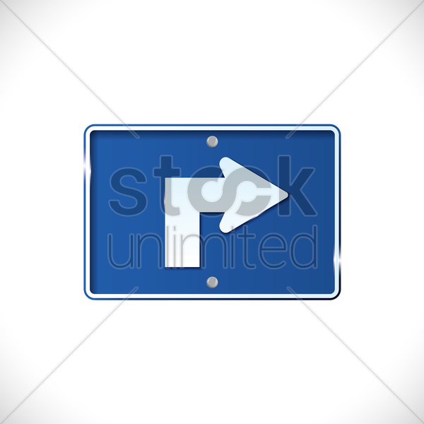 right turn warning sign vector graphic
