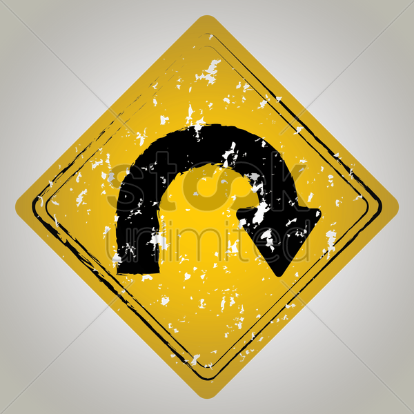 right u-turn road sign vector graphic