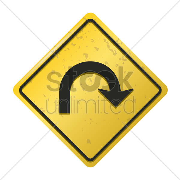 right u turn road sign vector graphic