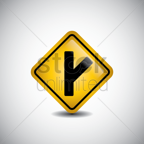 right y-intersection road sign vector graphic
