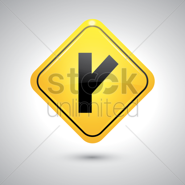 right y intersection sign vector graphic