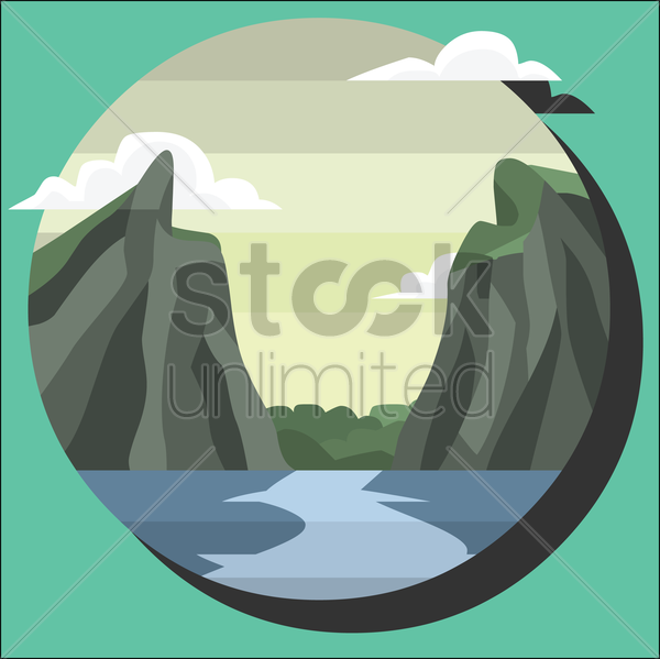 river in a beautiful nature vector graphic