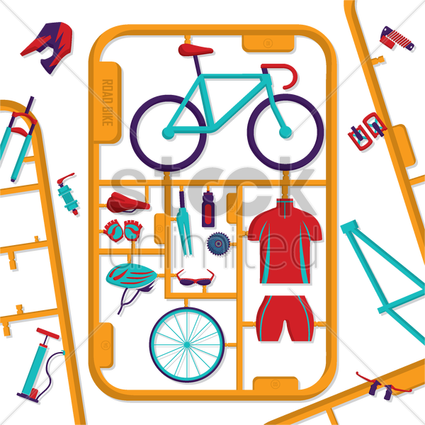 road bike design vector graphic