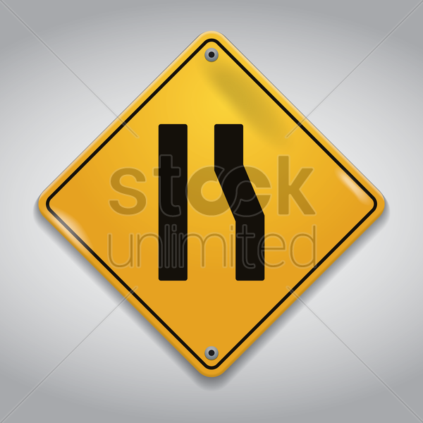 road narrows from right sign vector graphic